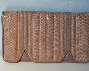 80s Aspects Mauve Leather Snakeskin Envelope Clutch Handbag