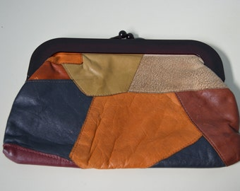 Vintage 70s Patchwork BOHO CHIC WOODSTOCK Leather Clutch Bohemian Bag Street Style