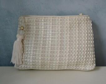 70s GANSON Woven Bag Ivory Metallic Leather Clutch