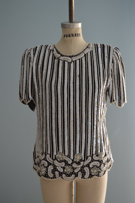 60s Laurence Kazar Sequins Black & White Top blouse