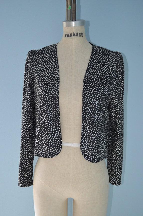 Vintage Black Silver Sequins Glitter Cropped Jacket Top