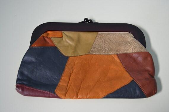 Vintage 70s Patchwork Leather Clutch Bohemian Bag