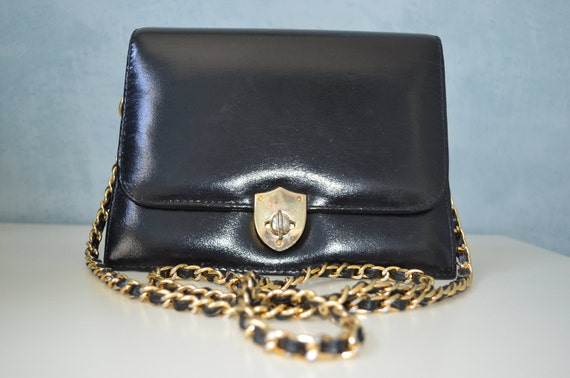 Reserved for B Retro 60s Jet black Leather Classic Bag Pouch-Gold Chain