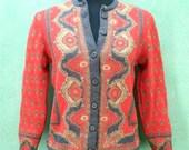 vintage sweater 50's orange Navajo Sweater Aztec tapestry Indian Western Norwegian ski M