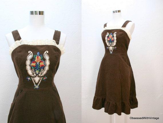 Vintage dress 70's brown corduroy eyelet lace cross stitch cut work prairie sun dress Small