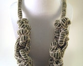 Hand Knit Necklace in Green Wool