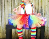 Custom boutique clown carnival tutu costume...birthday parties,,photo shoot...pagents..., 3 6 9 12 24 months... 2t 3t 4t 5t