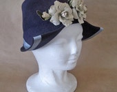 1940's WW2 Navy Felt Dutch Girl, Sonja Henie Hat