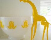 Vintage Fire King Yellow Tulip Cottage Cheese Bowl