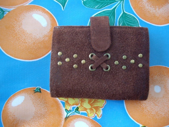 Vintage brown suede wallet from the 60's