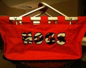 Large market tote with HOGS appliqued in zebra fabric