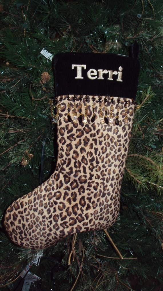 Personalized Christmas Stocking Leopard Print With Black