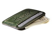 RETROMODERN aged leather Credit Card wallet - - GREEN