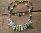 Tribal Necklace, rustic prehnite necklace with smooth green prehnite spikes, green stone jewelry