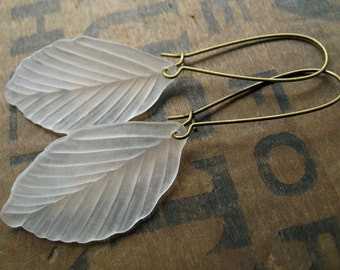White Leaf Dangle Earrings, simple frosted acrylic leaves nature inspired Bohemian jewelry, perfect for a rustic wedding