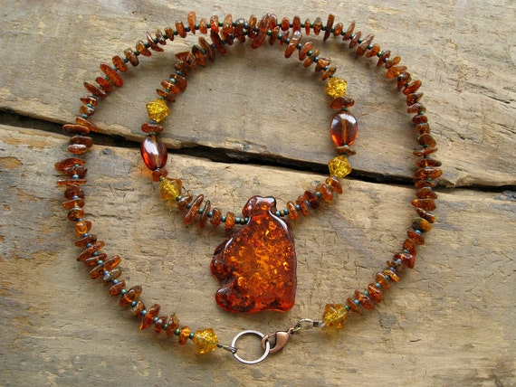 Amber Beaded Necklace, rustic Southwestern style amber bead necklace with amber pendant