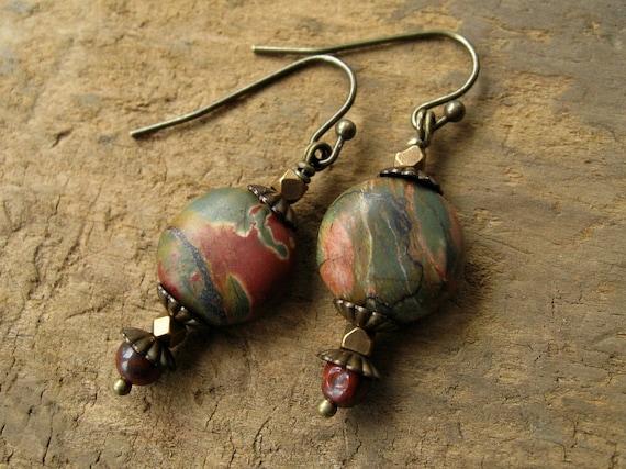 Rustic Earrings, earthy Picasso jasper earrings in brick red, pine green, and brass