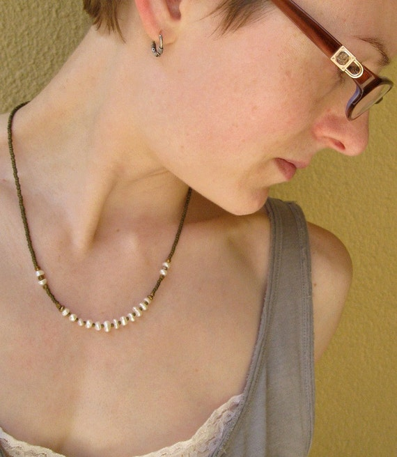 Freshwater Pearl Necklace, rustic beaded necklace with pearls and raw brass beads (rustic, simple, earthy, luminous)