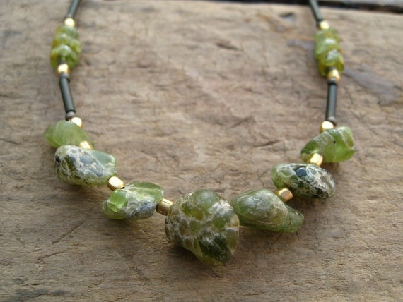 Rustic Peridot Necklace with rough peridot nugget beads, August birthstone necklace