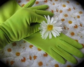 Reserved for Zike...Treasury Item...Vtg. Lds. Long Gloves Vibrant Spring Green. Fashion Must Have. Prom Favorite.