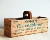Vintage Wood Cheese Box with Handle - Repurposed Display