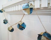 """Pacific Ocean Floor """"Popcorn"""" Garland - Upcycled From a Vintage Map"""