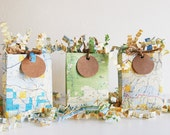 Three Mini Map Gift Bags with Shred and Tags - Perfect for Gift Cards / Party Favors - Recycled Eco Friendly