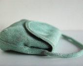 Vintage Seafoam Green Beaded Purse - Mint Condition With Original Mirror