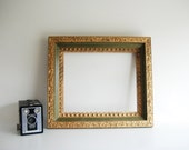 "Ornate Avocado Green and Gold Wood Picture Frame - Fits a 10""x12"" Picture"