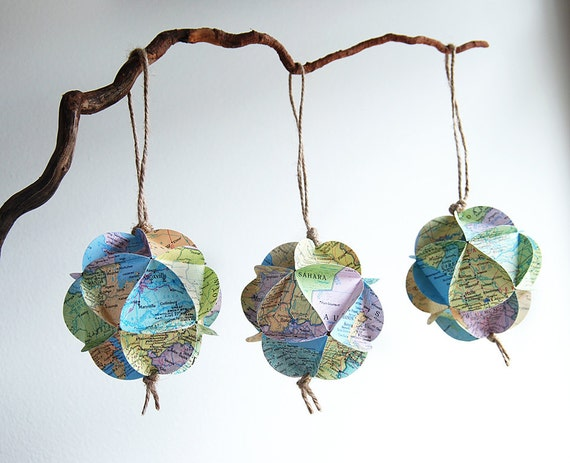 Upcycled Atlas Map Ornament // Recycled Vintage Maps // Custom Orders Welcome // Personalized