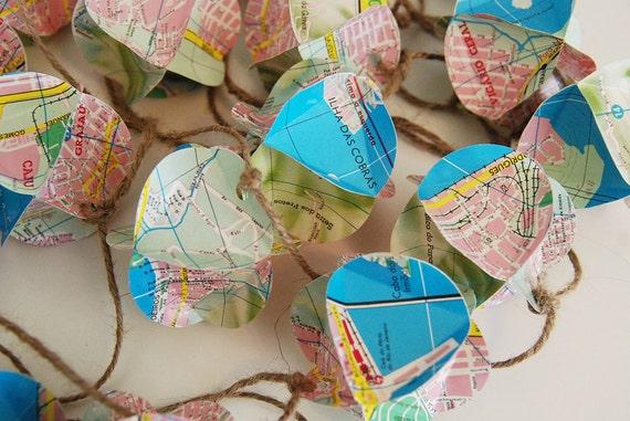 "Rio De Janeiro ""Popcorn"" Garland 10 Ft.  - Upcycled Map Eco Friendly"