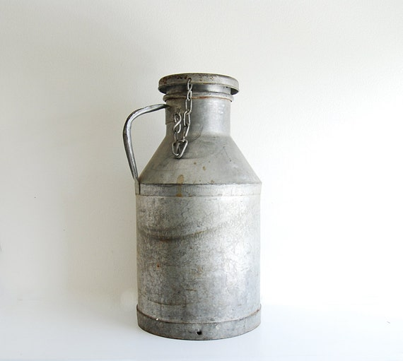 Vintage Industrial Galvanized Metal Milk Can - Rustic Farm Decor