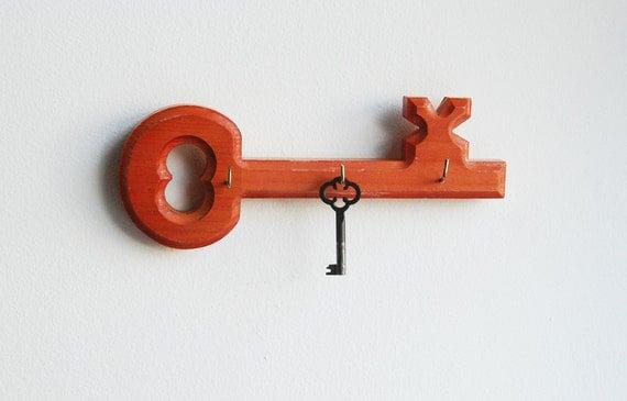 Wooden Orange Skeleton Key With Hooks - Key Rack / Jewelry Holder