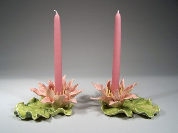 RESERVED for NICOLE - Pair of Waterlily Candlestick Holders - Hand Sculpted, One of a Kind, Porcelain