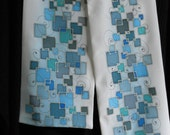Reserved special handpainted silk scarf white blue gray geometric men's scarf