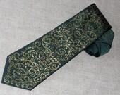 Handpainted necktie dark green with golden scrolls Christmas gift for him
