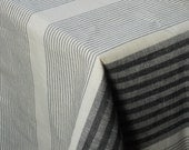 Black and white striped tablecloth linen and cotton organic table cloth