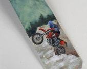 Handpainted necktie for motorcyclist biker motorcross stocking stuffer custom order for bike rider