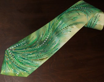 Handpainted silk necktie with green waves designer's neck tie gift for him