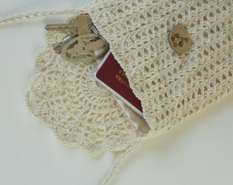 Ivory linen purse crochet lace bag for rustic wedding natural flax wallet small travel bag