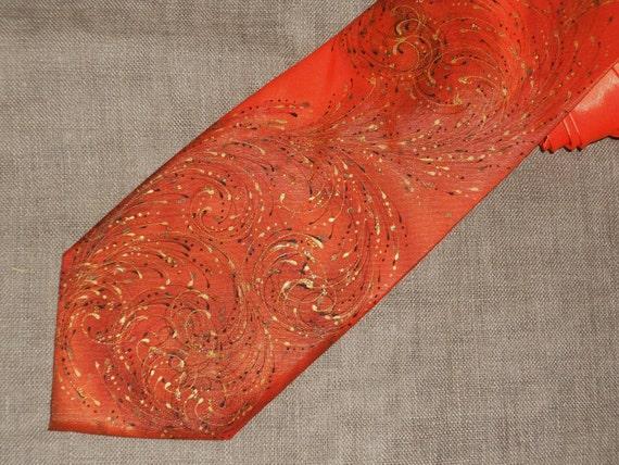 Gift for him - handpainted orange silk necktie custom made