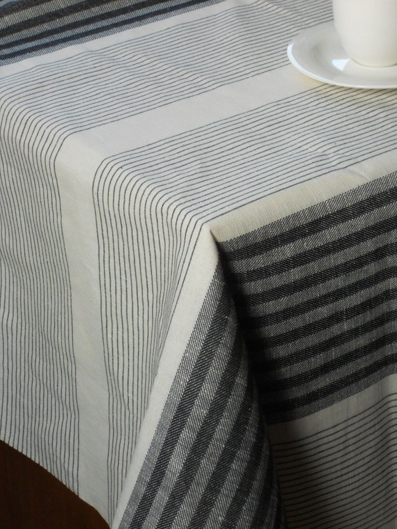 Black And White Striped Tablecloth Linen And Cotton Organic