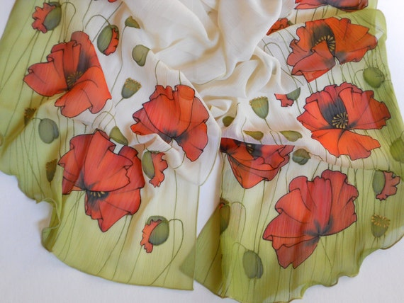 Red poppies handpainted silk scarf bridal scarf