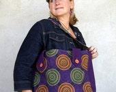 Purple Swirls Shoulder Bag with Tab Closures
