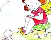 Hello Little Bunny -- Archival Print Brown Hair Fairy