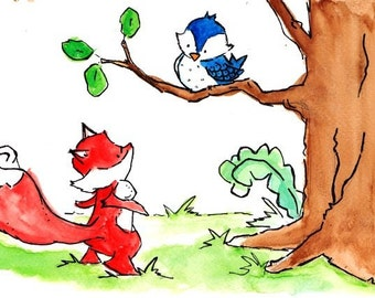 Hello There -- Archival Print Fox and Bluebird