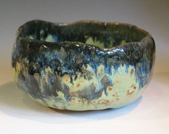 Japanese Style Tea Bowl Chawan Hand Carved Foot Beautiful Blues, Yellows, Black