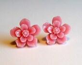 Post Earrings - Pink Sakura Flowers - Hypoallergenic