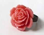 Flower Ring - Pink Garden Rose - Adjustable Antiqued Brass Ring