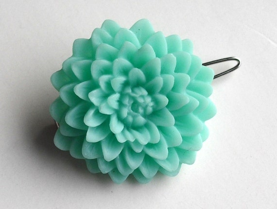 Resin Flower Barrette - Aqua Chrysanthemum - Large Resin Flower